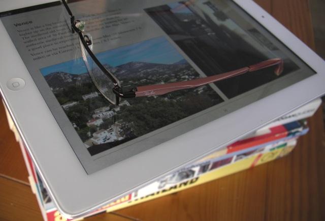 Apple iPad, ebook, eyeglasses, books,