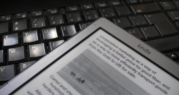 Amazon Kindle ereader on PC keyboard