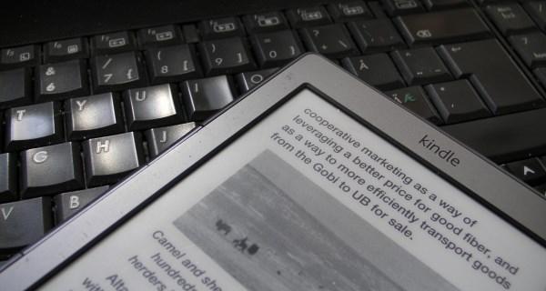 Amazon Kindle ereader on PC keyboard