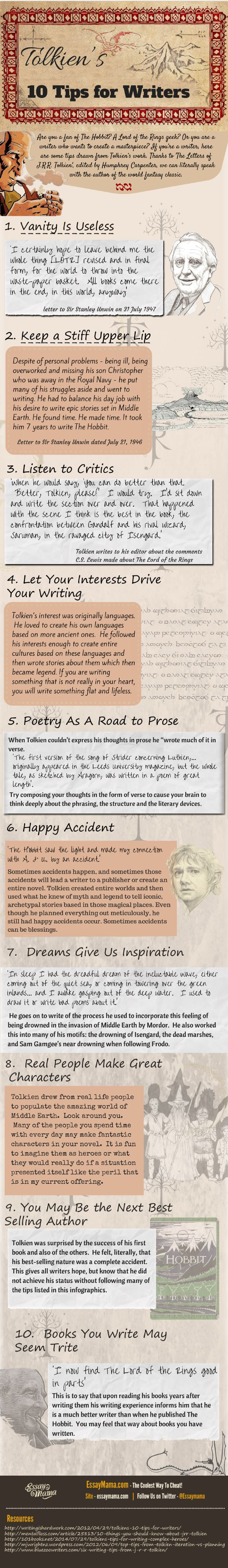 tolkien, tips for writers