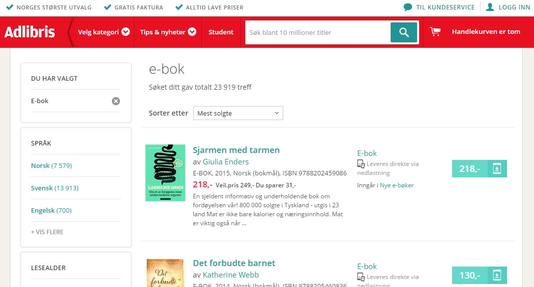 adlibris ebooks, norge screen shot