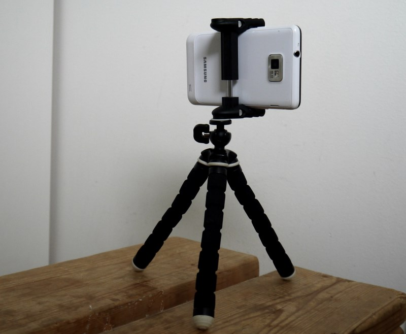 smartphone holder on a tripod