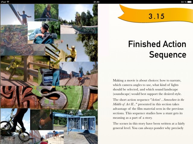 stunts, scenes and safety book on ipad