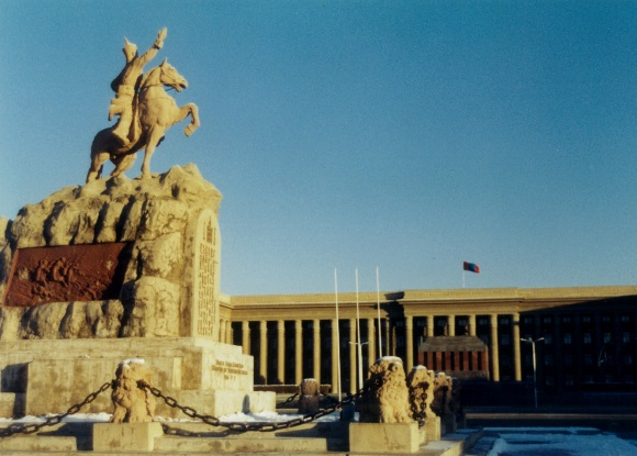 The statue of Genghis Khan on front of The Great Hural, Legislative building, UB