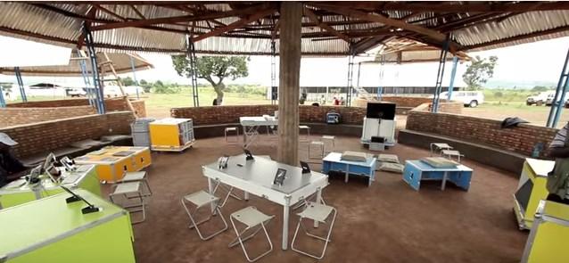 ideas box, set up at a camp