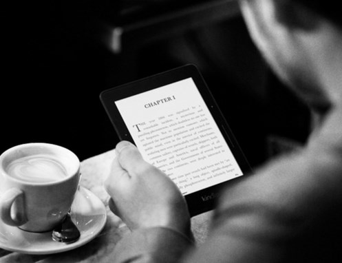 amazon kindle voyage, coffee