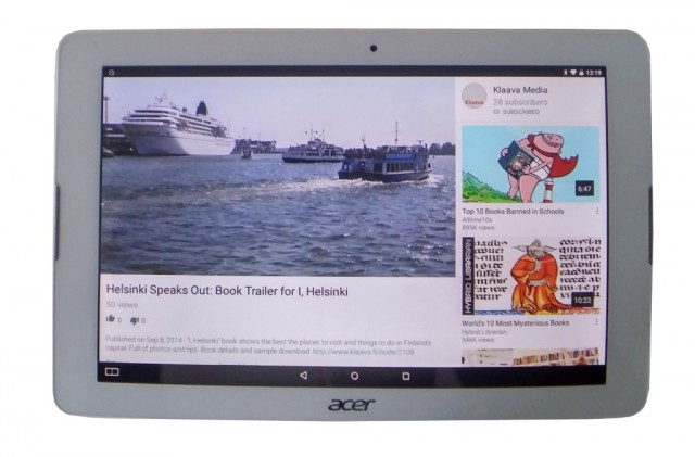 acer b3-a20 tablet, watching youtube video