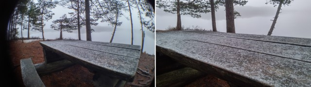 snow on table, fisheye lens comparison