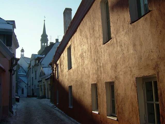 An alley in the old town of Tallinn Estonia
