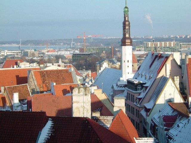 A view from over the old town of Tallinn to the port