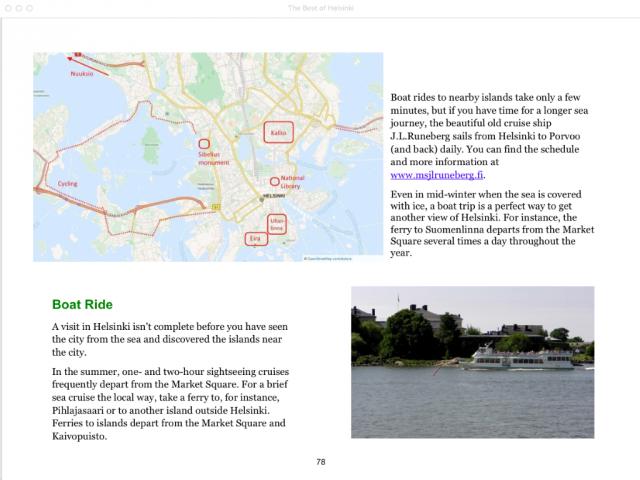 Helsinki: Klaava Travel Guide, sample page