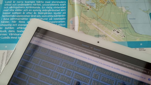 Google Word Lens Translator, a Swedish map translated to Spanish