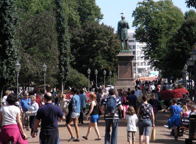 Esplanade park ,Helsinki in summer