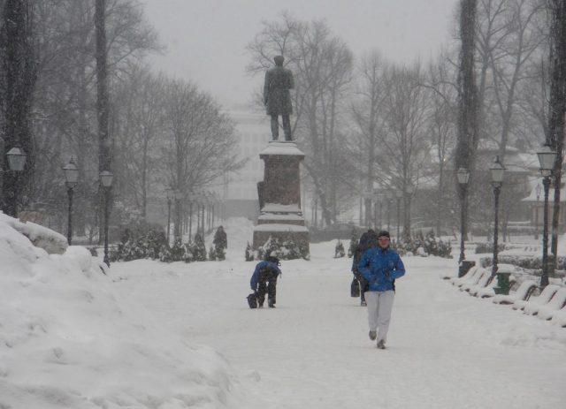 snow storm at Esplanade park in Helsinki