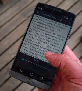 reading ebook in fbreader app on LG G3