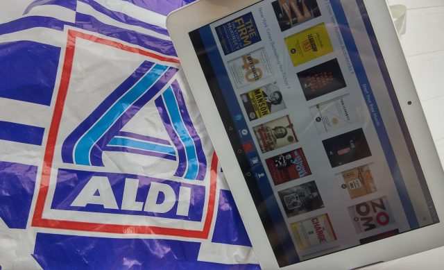 aldi logo on bag, tablet