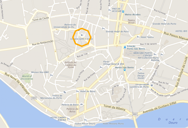 porto, lello bookstore, map
