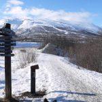 Abisko trail network signposts. Sweden, Lapland.