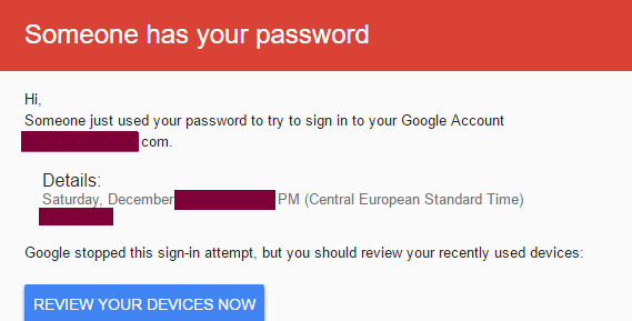 Google: someone has your password