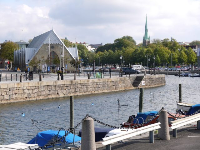 feskekyrka in Gothenburg. the old town is surrounded by canals.