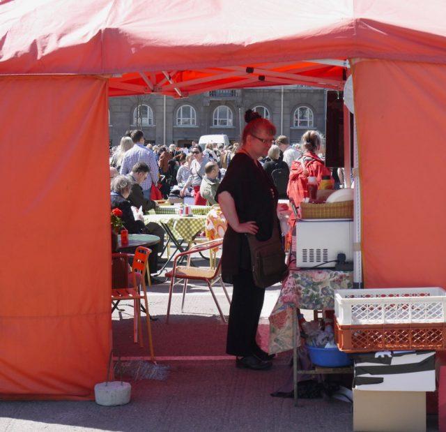 Hietalahti flea market in Helsinki, Finland.