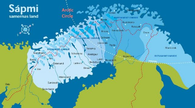 Map: Lapland, Arctic Circle, Sami region