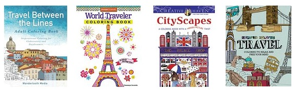 travel coloring books, cover images