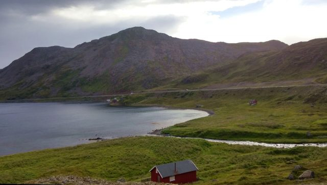 The road to Nordkapp follows the shores of fjord.