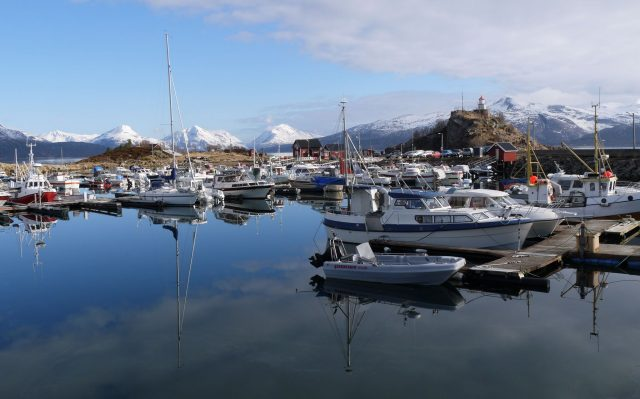 Lofoten, Norway. A fishing village port on shore of a fjord
