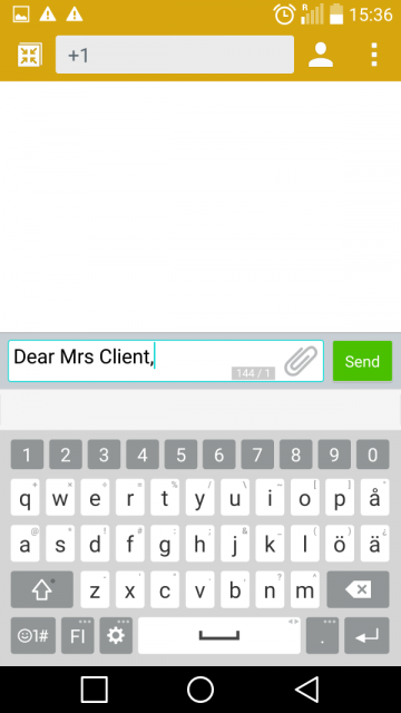 compose text message on Android smartphone
