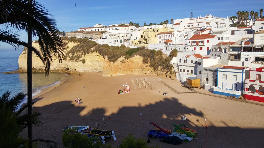Carvoeiro, Algarve, Portugal. Fishing village beach