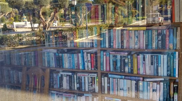 Small library closed, window reflection of park