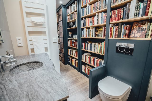 Paris Boutik hotel, books in bathroom