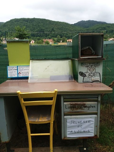 Luzenac, Arege, France, outdoor library