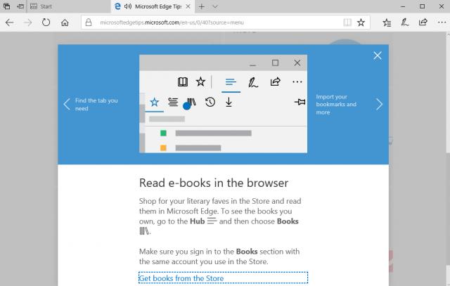 Microsoft ebook store in the Edge web browser