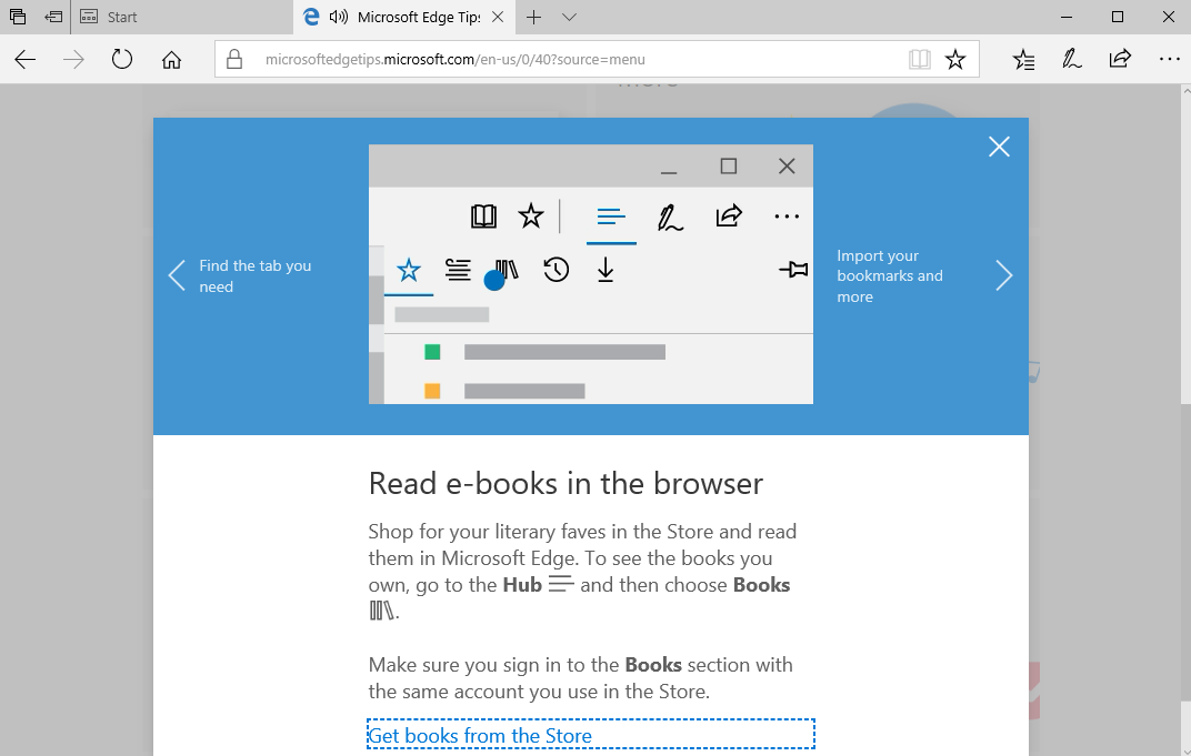 Microsoft ebook store in the Edge web browser