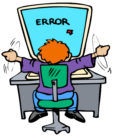 cartoon character looks at a computer with an error message