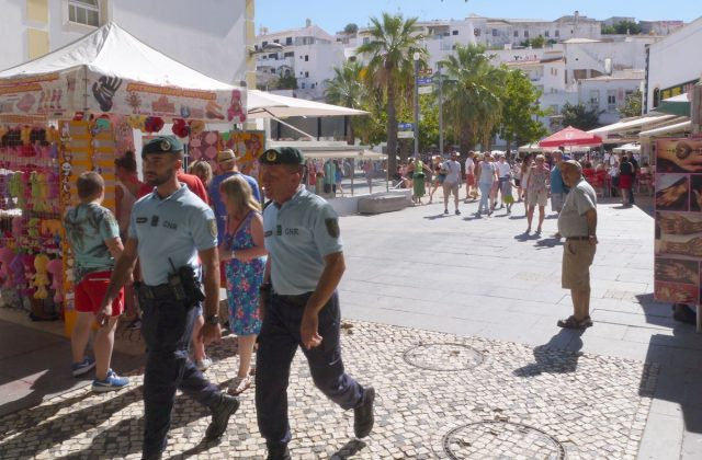police on patrol in Albufeira, Algarve, Portugal