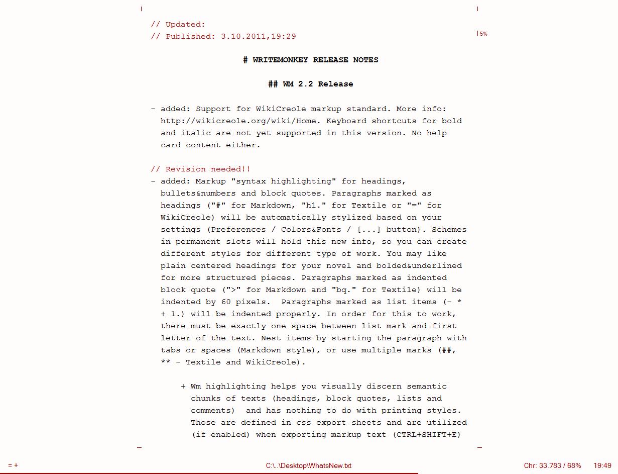 WriteMonkey, writing application, screen shot
