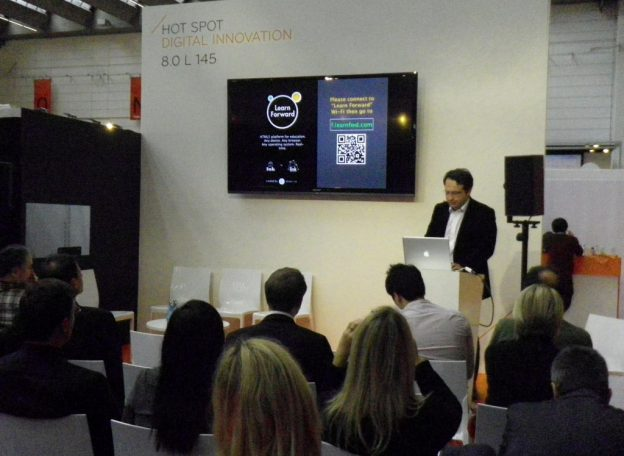 a speaker and audience at Frankfurt book fair