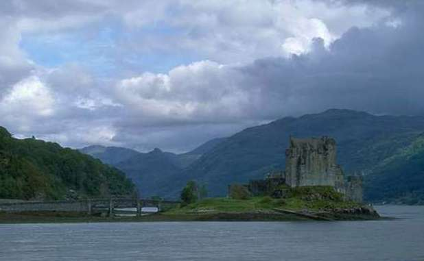 Scotland scenery, a castle on a small island