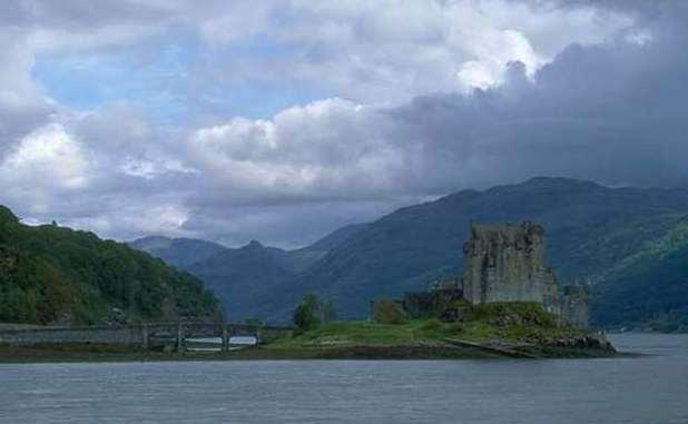 Scotland scenery, a castle on a small island
