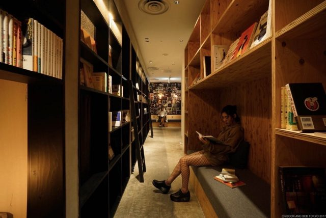 hostel where guests sleep in a bookshelf, Tokyo, Japan