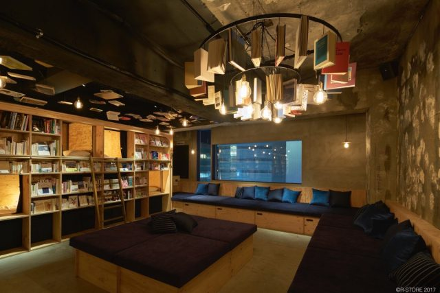 Book and Bed hostel, Tokyo, sofas and coffee tables
