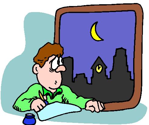 writing during night, cartoon character