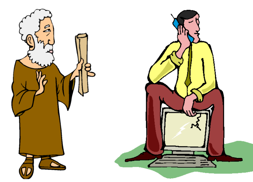 clip art cartoon: old man with papyrus and young man with mobile phone and computer