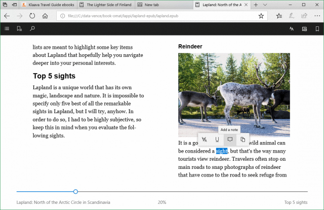 highlight, make notes in ebook in Windows 10 Edge browser