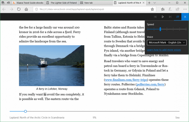 read aloud (TTS) in Microsoft Edge