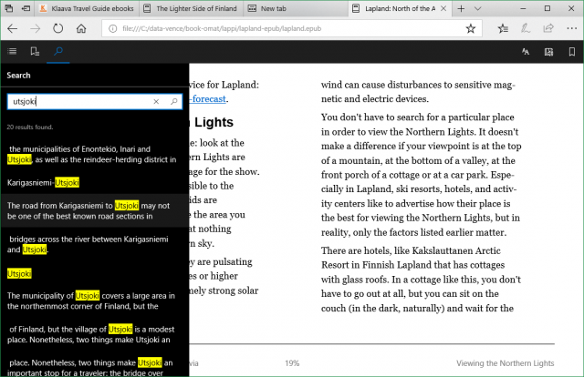 search any text in ebook in Edge browser EPUB reader in Windows 10