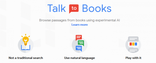 Google AI service: Talk to Books, home screen